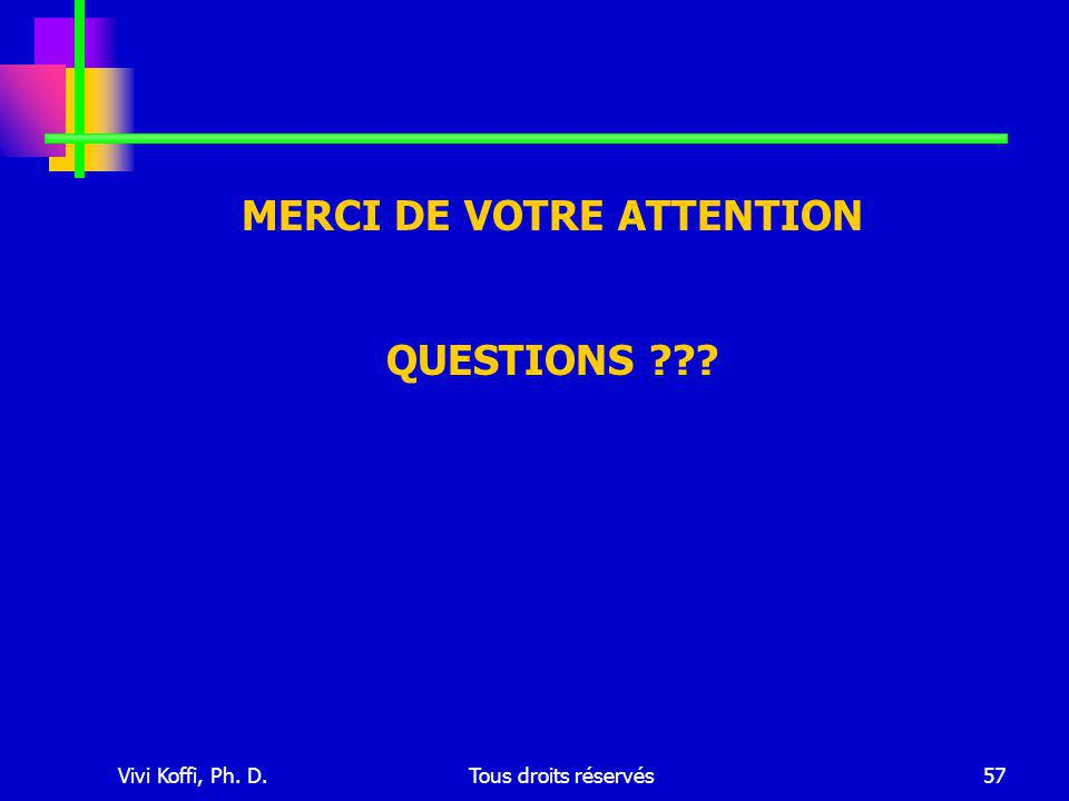 Vivi Koffi, Ph. D.Tous droits réservés57 MERCI DE VOTRE ATTENTION QUESTIONS ???
