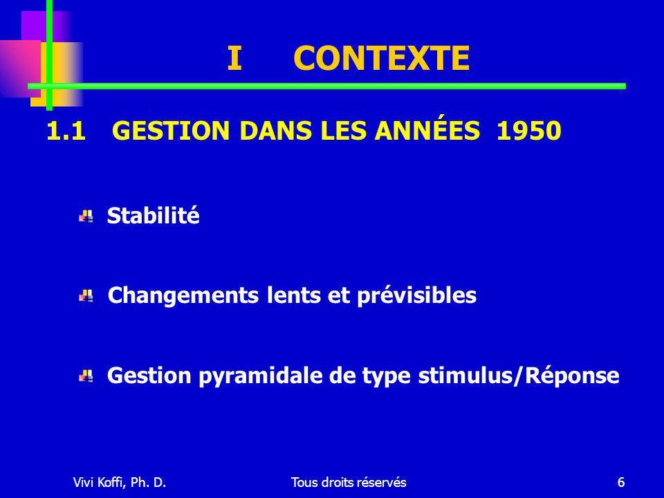Vivi Koffi, Ph. D.Tous droits réservés6 ICONTEXTE Stabilité Changements lents et prévisibles Gestion pyramidale de type stimulus/Réponse 1.1GESTION DA