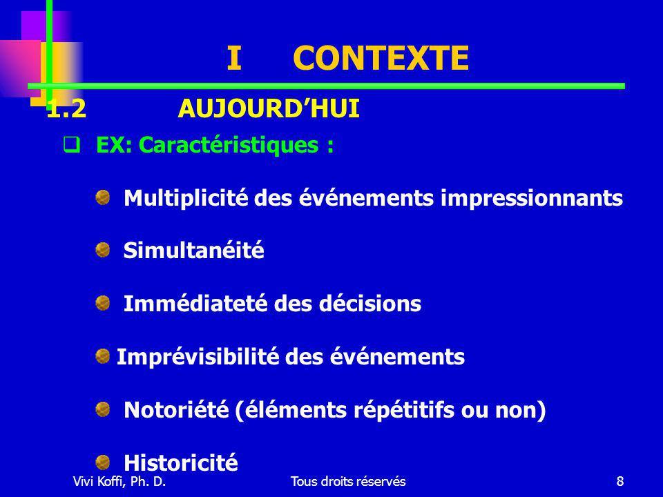 Vivi Koffi, Ph. D.Tous droits réservés8 ICONTEXTE  EX: Caractéristiques : Multiplicité des événements impressionnants Simultanéité Immédiateté des dé