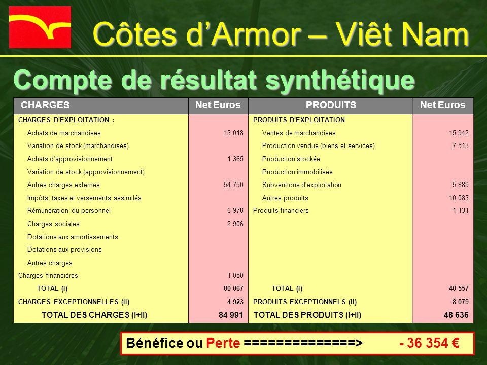 Côtes d'Armor – Viêt Nam Compte de résultat synthétique Compte de résultat synthétique CHARGESNet Euros PRODUITSNet Euros CHARGES D'EXPLOITATION : PRO