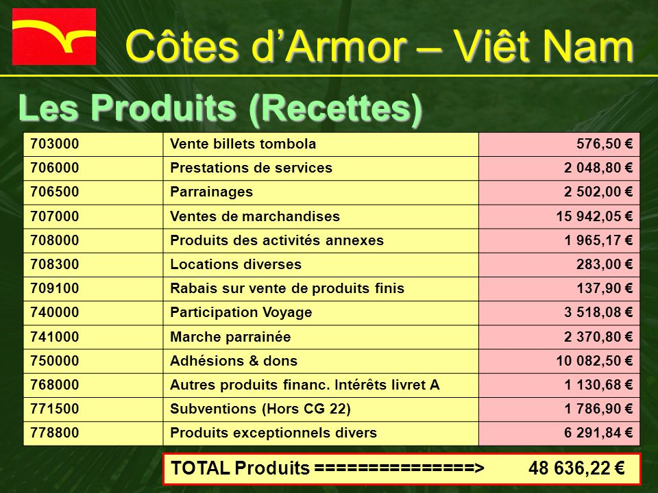 Côtes d'Armor – Viêt Nam Bilan financier 2011 Bilan financier 2011 Intitulé Débit 2011 Crédit 2011 Gestion de C.AV.N.