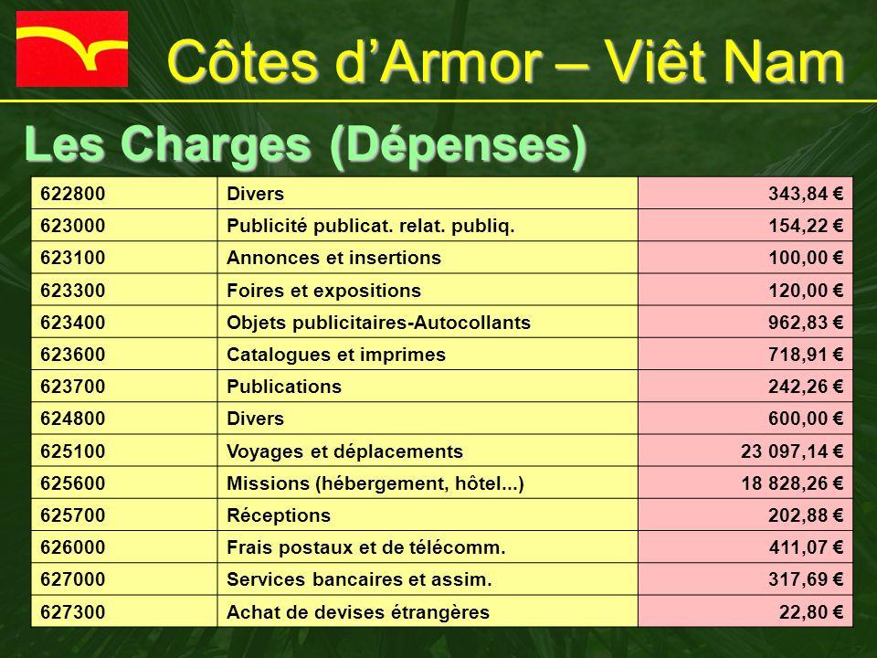 Côtes d'Armor – Viêt Nam Les Charges (Dépenses) Les Charges (Dépenses) 622800Divers343,84 € 623000Publicité publicat. relat. publiq.154,22 € 623100Ann