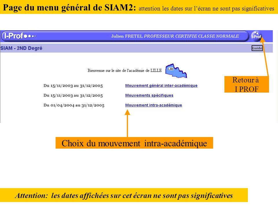 Attention: les dates affichées sur cet écran ne sont pas significatives Retour à I PROF Choix du mouvement intra-académique Page du menu général de SIAM2: attention les dates sur l'écran ne sont pas significatives