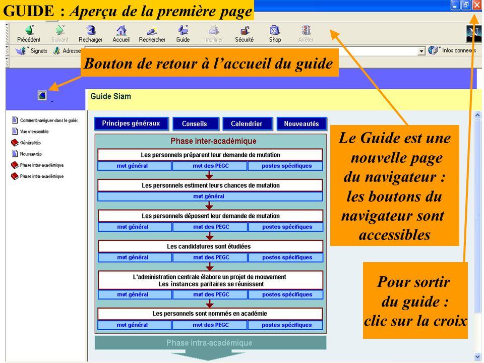 GUIDE : Aperçu de la première page Bouton de retour à l'accueil du guide Le Guide est une nouvelle page du navigateur : les boutons du navigateur sont
