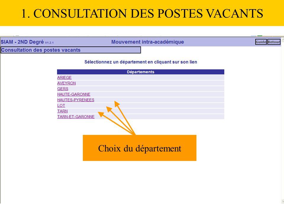 Choix du département 1. CONSULTATION DES POSTES VACANTS