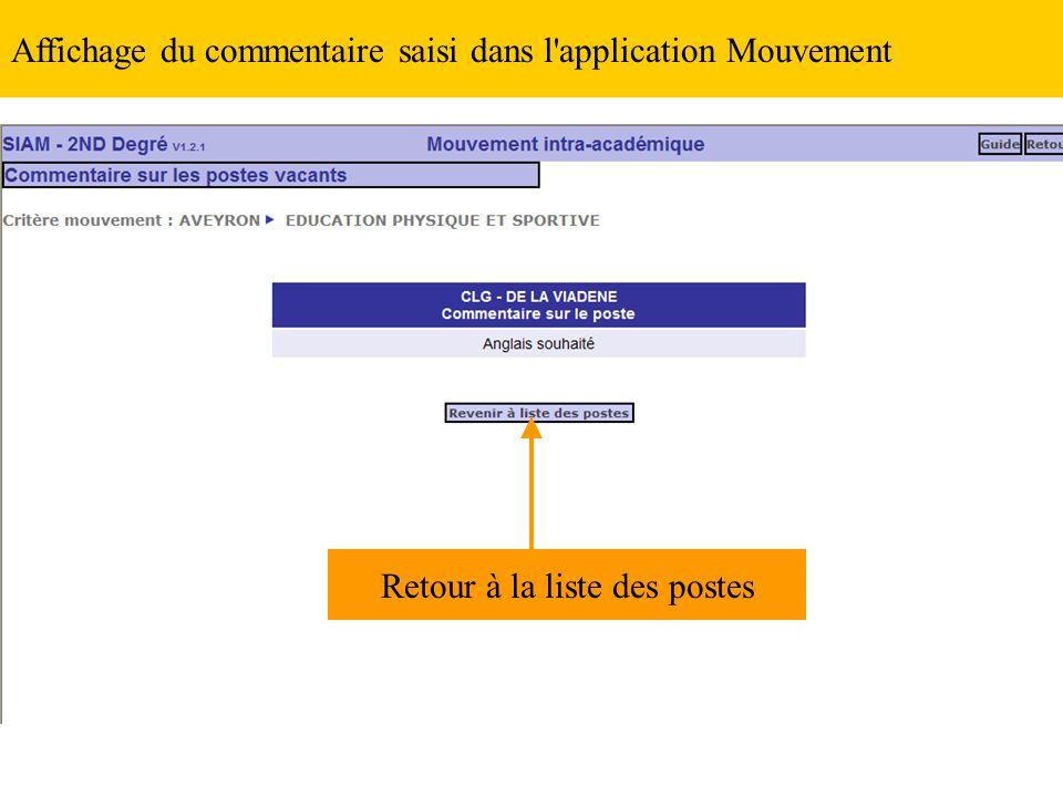 Affichage du commentaire saisi dans l'application Mouvement Retour à la liste des postes