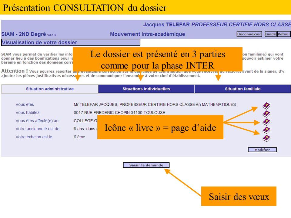 Le dossier est présenté en 3 parties comme pour la phase INTER Saisir des vœux Icône « livre » = page d'aide Présentation CONSULTATION du dossier