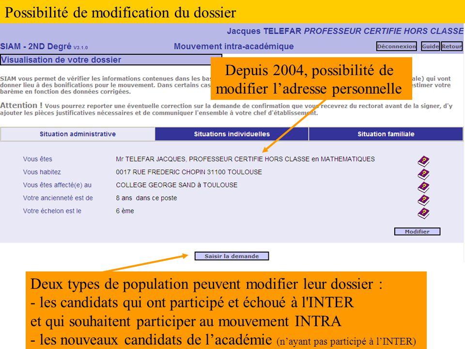 Deux types de population peuvent modifier leur dossier : - les candidats qui ont participé et échoué à l'INTER et qui souhaitent participer au mouveme