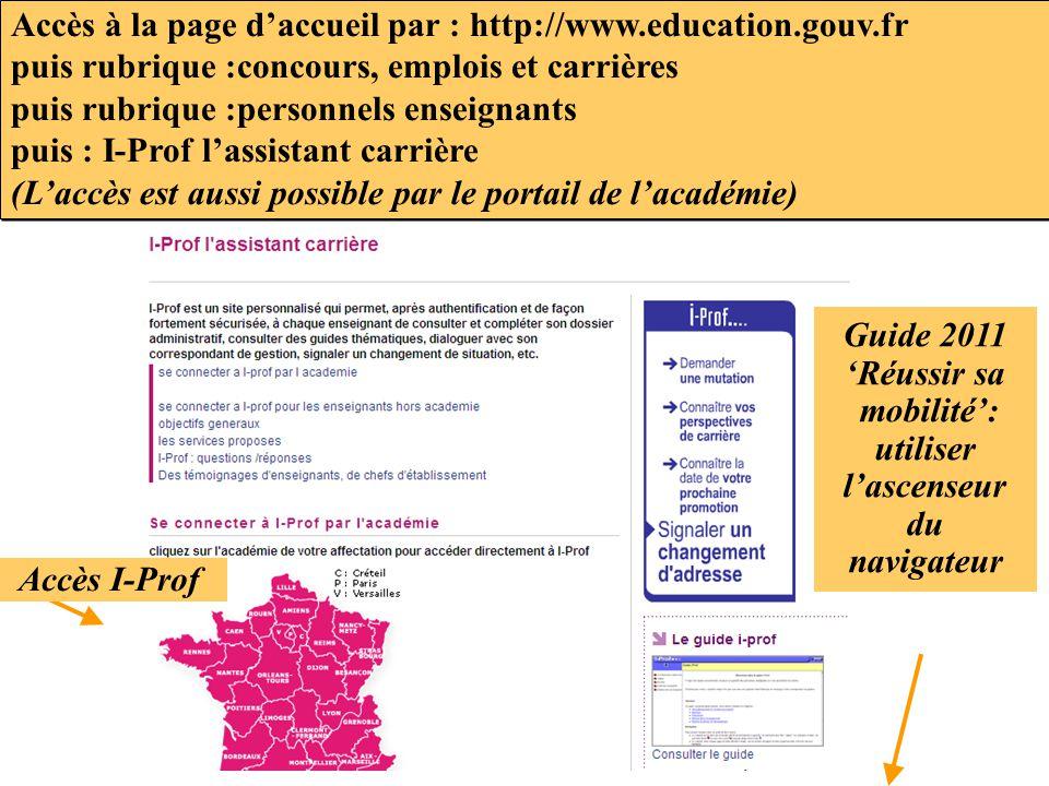 Accès à la page d'accueil par : http://www.education.gouv.fr puis rubrique :concours, emplois et carrières puis rubrique :personnels enseignants puis
