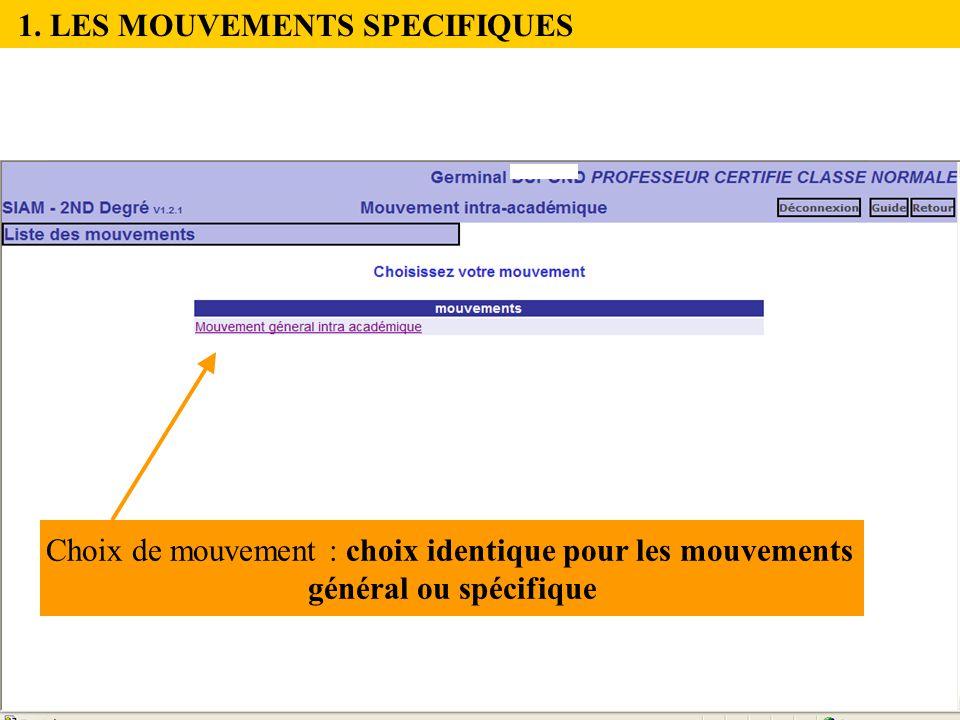 1. LES MOUVEMENTS SPECIFIQUES Choix de mouvement : choix identique pour les mouvements général ou spécifique