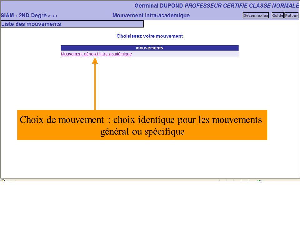Choix de mouvement : choix identique pour les mouvements général ou spécifique