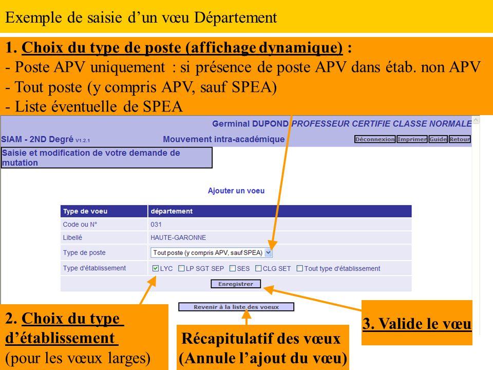 1. Choix du type de poste (affichage dynamique) : - Poste APV uniquement : si présence de poste APV dans étab. non APV - Tout poste (y compris APV, sa