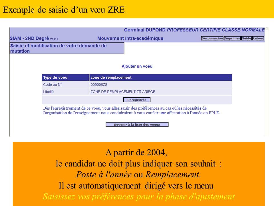 Exemple de saisie d'un vœu ZRE A partir de 2004, le candidat ne doit plus indiquer son souhait : Poste à l'année ou Remplacement. Il est automatiqueme