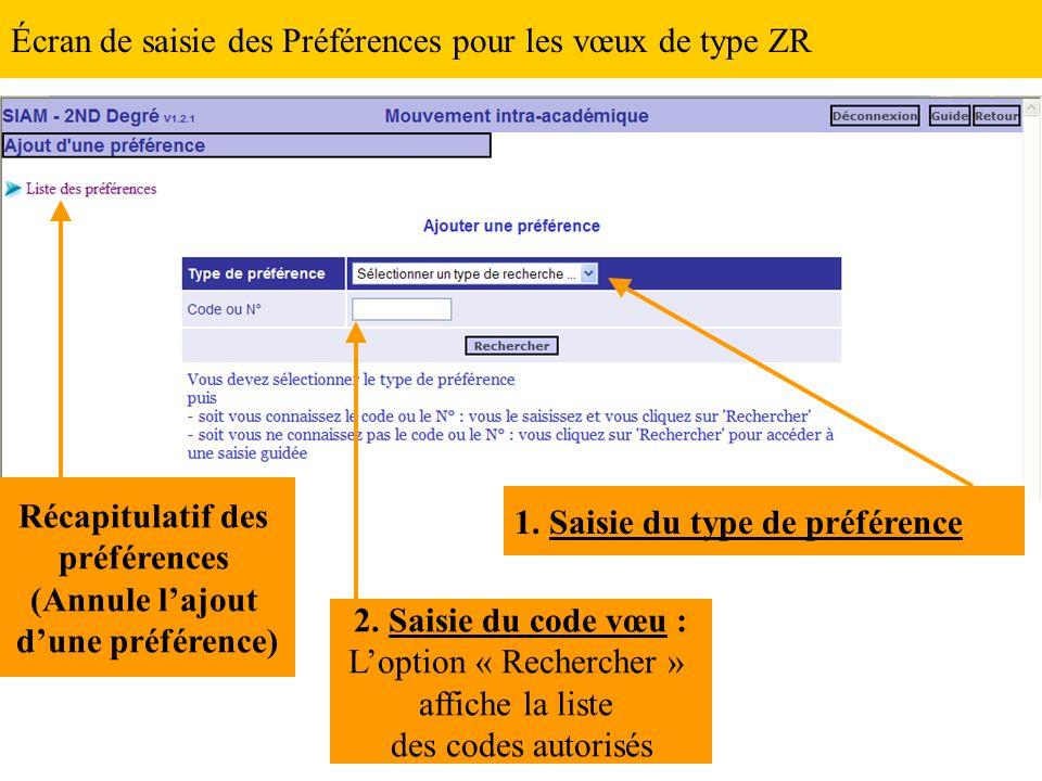Écran de saisie des Préférences pour les vœux de type ZR 1. Saisie du type de préférence 2. Saisie du code vœu : L'option « Rechercher » affiche la li