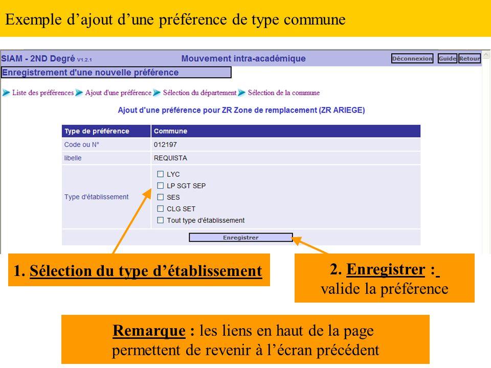 Exemple d'ajout d'une préférence de type commune 1. Sélection du type d'établissement 2. Enregistrer : valide la préférence Remarque : les liens en ha