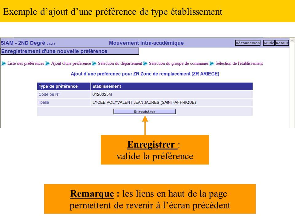 Exemple d'ajout d'une préférence de type établissement Enregistrer : valide la préférence Remarque : les liens en haut de la page permettent de revenir à l'écran précédent