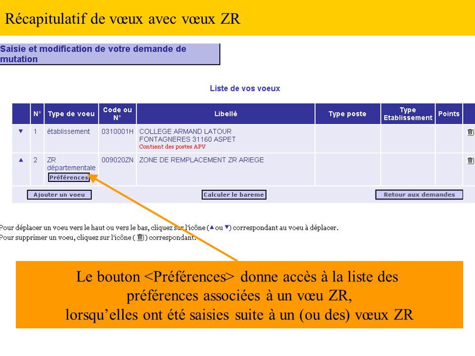 Récapitulatif de vœux avec vœux ZR Le bouton donne accès à la liste des préférences associées à un vœu ZR, lorsqu'elles ont été saisies suite à un (ou des) vœux ZR
