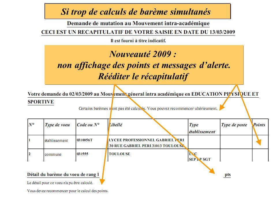 Si trop de calculs de barème simultanés Nouveauté 2009 : non affichage des points et messages d'alerte. Rééditer le récapitulatif