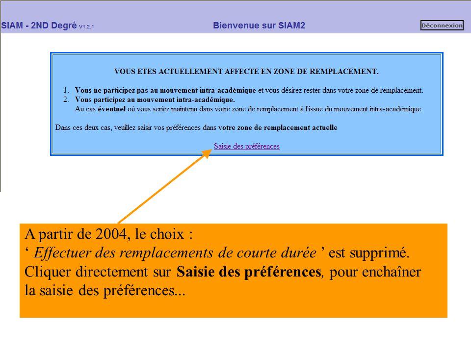 A partir de 2004, le choix : ' Effectuer des remplacements de courte durée ' est supprimé. Cliquer directement sur Saisie des préférences, pour enchaî