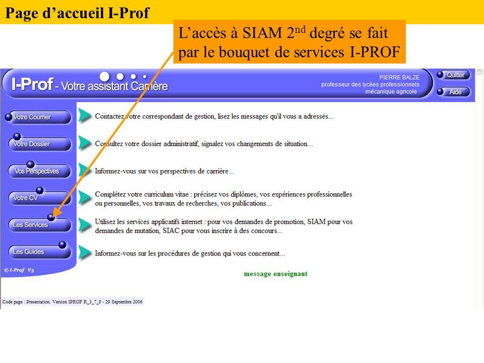 Page d'accueil I-Prof L'accès à SIAM 2 nd degré se fait par le bouquet de services I-PROF
