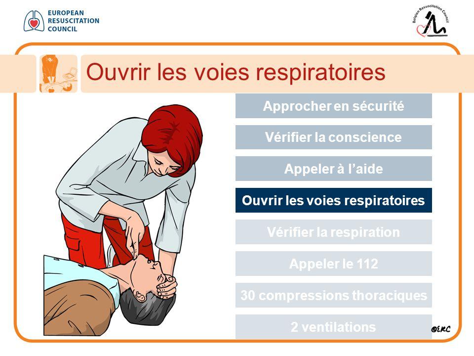 Ouvrir les voies respiratoires Approcher en sécurité Vérifier la conscience Appeler à l'aide Ouvrir les voies respiratoires Vérifier la respiration Appeler le 112 30 compressions thoraciques 2 ventilations