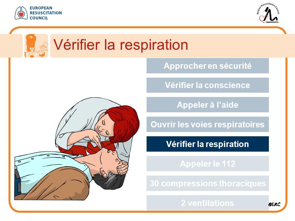 Vérifier la respiration Approcher en sécurité Vérifier la conscience Appeler à l'aide Ouvrir les voies respiratoires Vérifier la respiration Appeler le 112 30 compressions thoraciques 2 ventilations