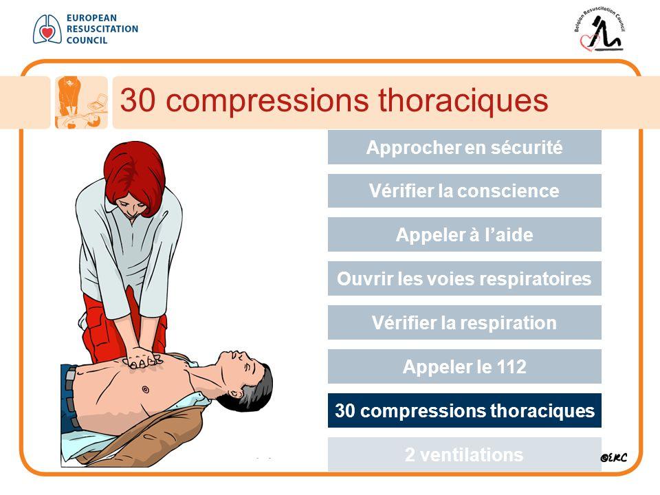 30 compressions thoraciques Approcher en sécurité Vérifier la conscience Appeler à l'aide Ouvrir les voies respiratoires Vérifier la respiration Appeler le 112 30 compressions thoraciques 2 ventilations
