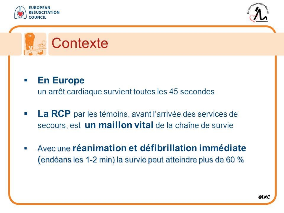 Contexte  En Europe un arrêt cardiaque survient toutes les 45 secondes  La RCP par les témoins, avant l'arrivée des services de secours, est un maillon vital de la chaîne de survie  Avec une ( endéans les 1-2 min) la survie peut atteindre plus de 60 %  Avec une réanimation et défibrillation immédiate ( endéans les 1-2 min) la survie peut atteindre plus de 60 %