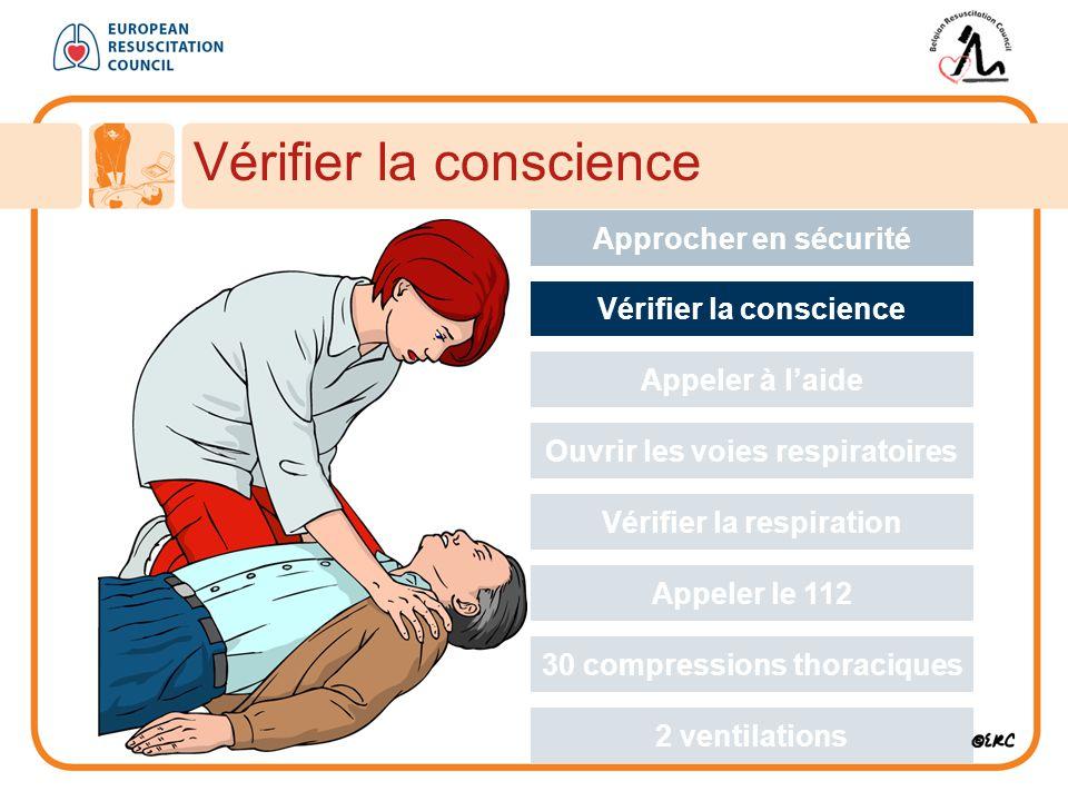 Vérifier la conscience Approcher en sécurité Vérifier la conscience Appeler à l'aide Ouvrir les voies respiratoires Vérifier la respiration Appeler le 112 30 compressions thoraciques 2 ventilations