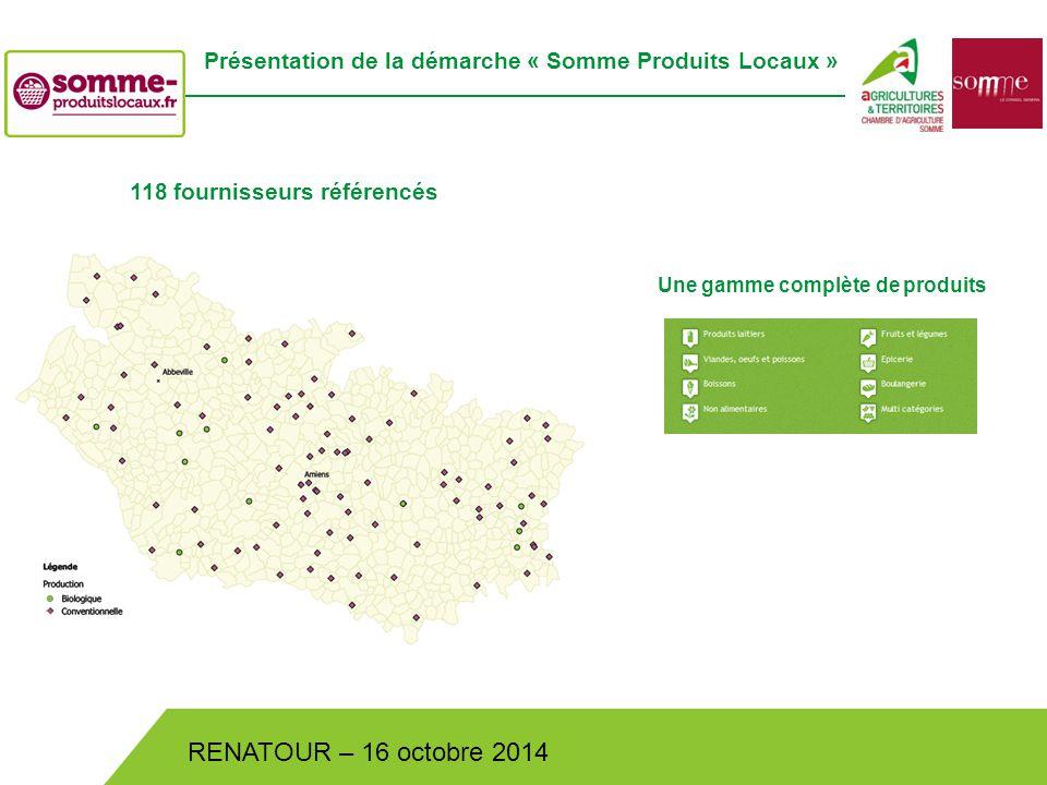 Bistrot de Pays – Lundi 30 juin 2014 RENATOUR – 16 octobre 2014 Présentation de la démarche « Somme Produits Locaux » 118 fournisseurs référencés Une gamme complète de produits