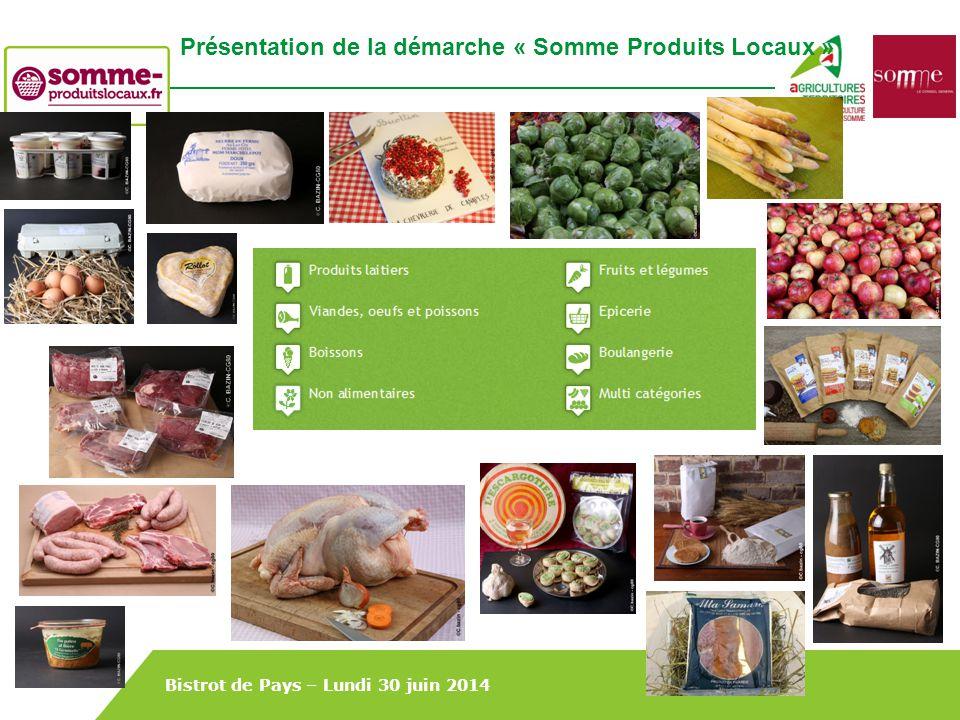 Bistrot de Pays – Lundi 30 juin 2014 Présentation de la démarche « Somme Produits Locaux »