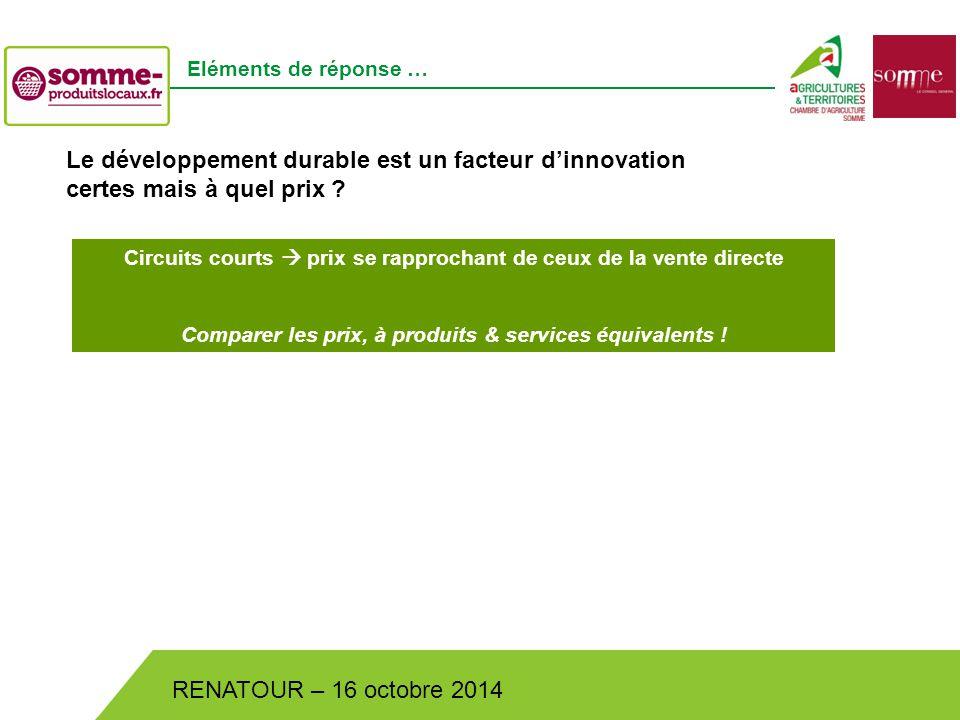 Bistrot de Pays – Lundi 30 juin 2014 RENATOUR – 16 octobre 2014 Eléments de réponse … Le développement durable est un facteur d'innovation certes mais à quel prix .