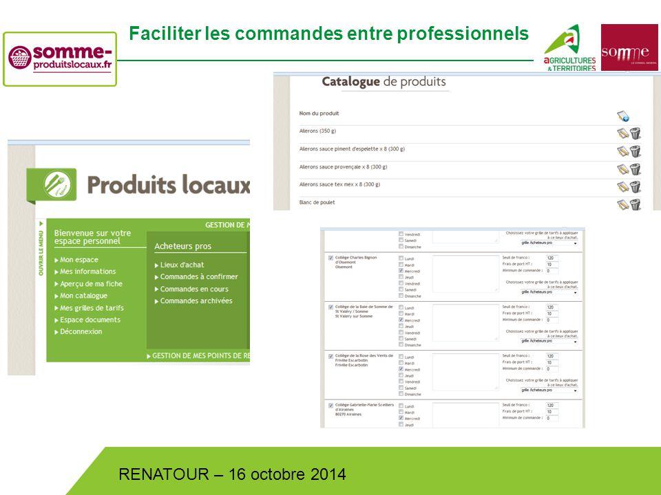 Bistrot de Pays – Lundi 30 juin 2014 RENATOUR – 16 octobre 2014 Faciliter les commandes entre professionnels