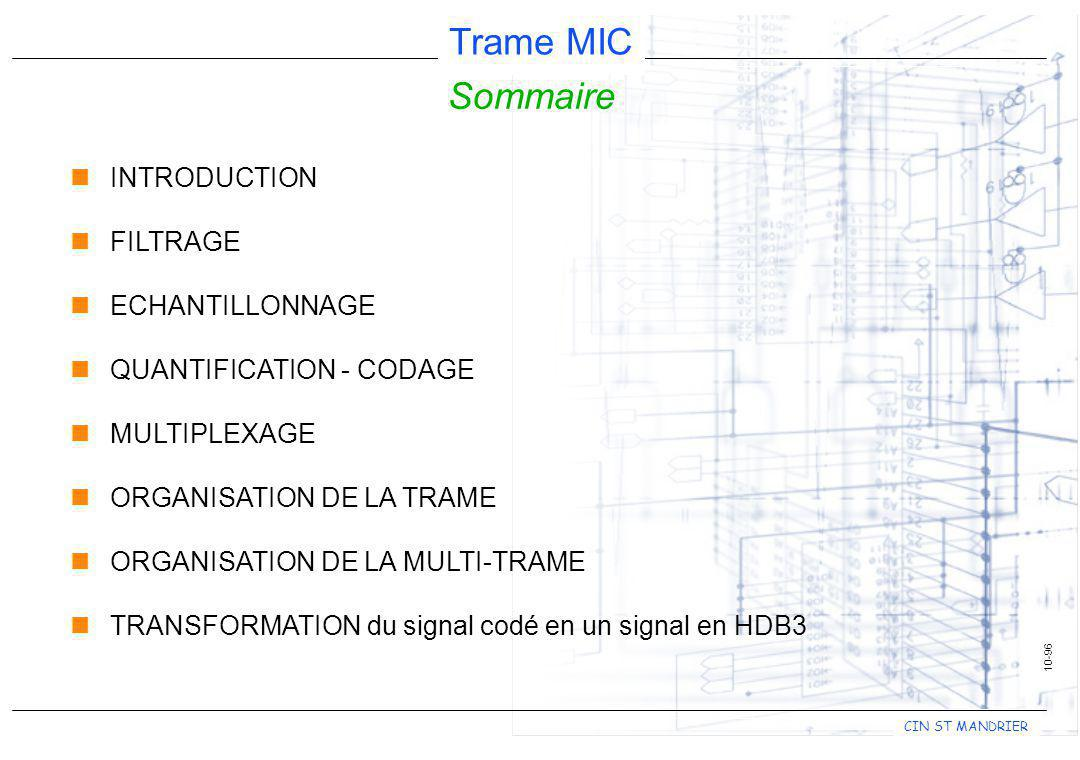 CIN ST MANDRIER Trame MIC 10-96 Sommaire nINTRODUCTION nFILTRAGE nECHANTILLONNAGE nQUANTIFICATION - CODAGE nMULTIPLEXAGE nORGANISATION DE LA TRAME nOR