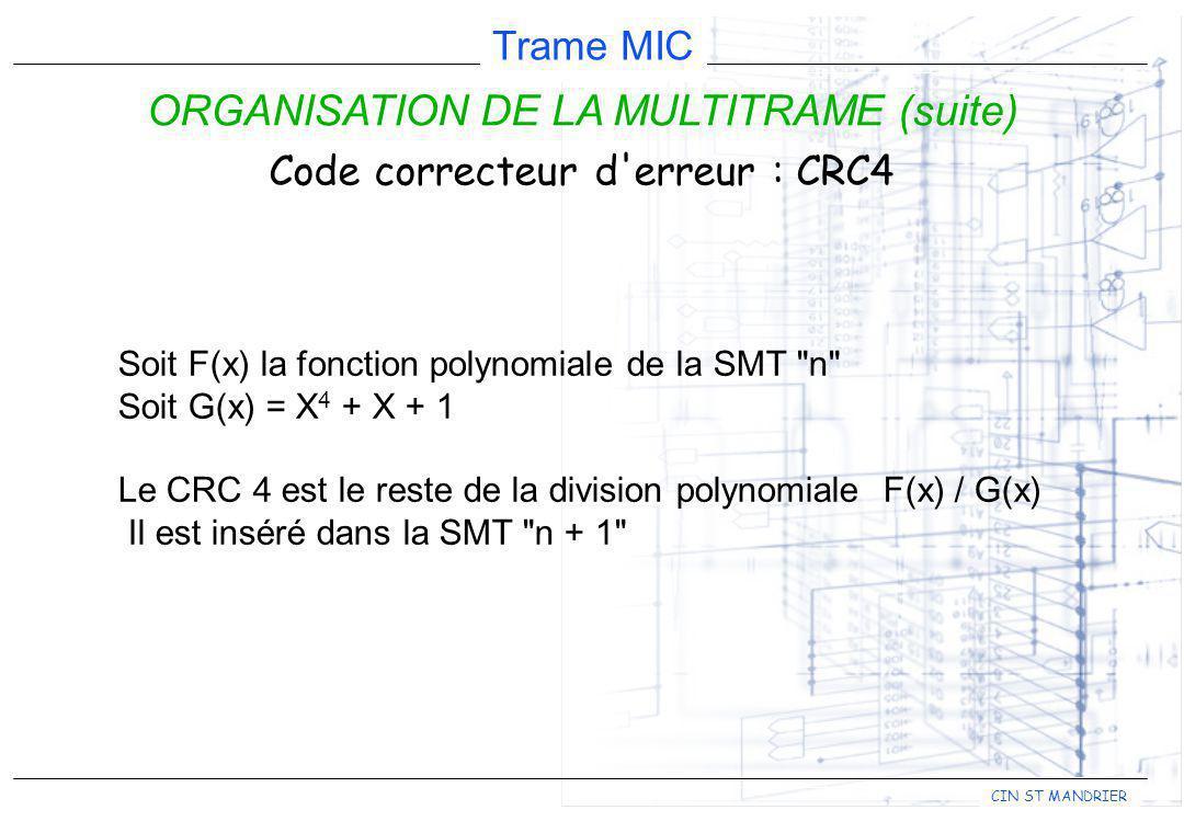 CIN ST MANDRIER Trame MIC ORGANISATION DE LA MULTITRAME (suite) Code correcteur d'erreur : CRC4 Soit F(x) la fonction polynomiale de la SMT