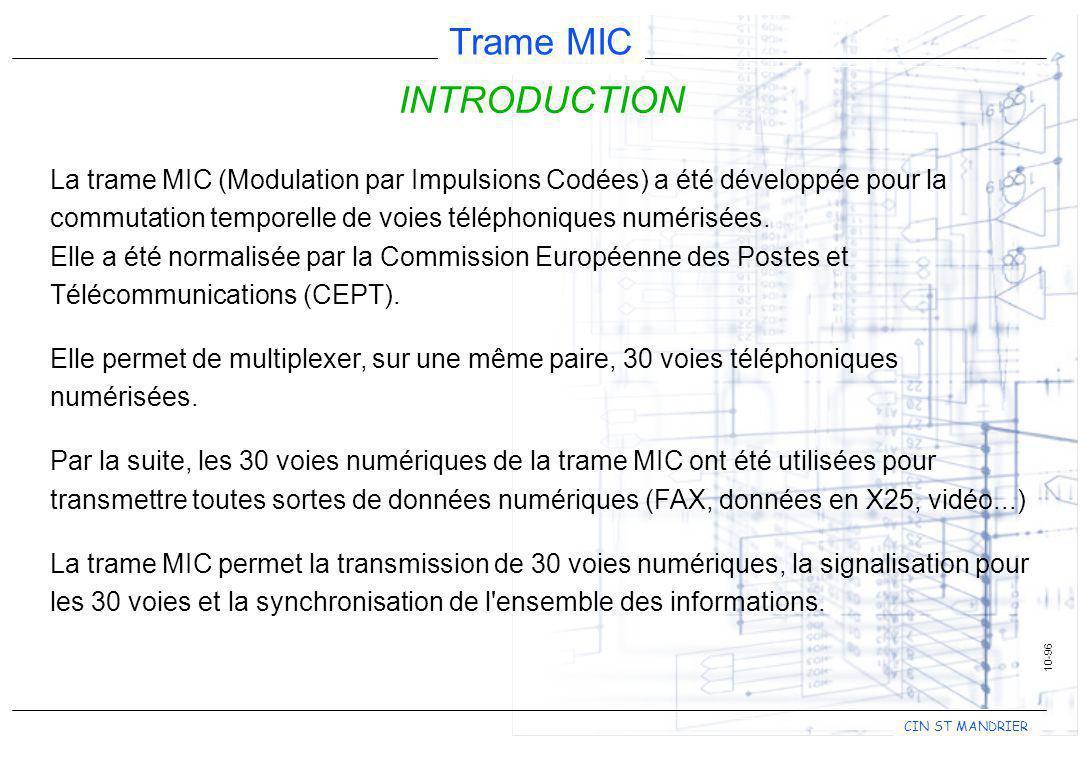 CIN ST MANDRIER Trame MIC 10-96 INTRODUCTION La trame MIC (Modulation par Impulsions Codées) a été développée pour la commutation temporelle de voies