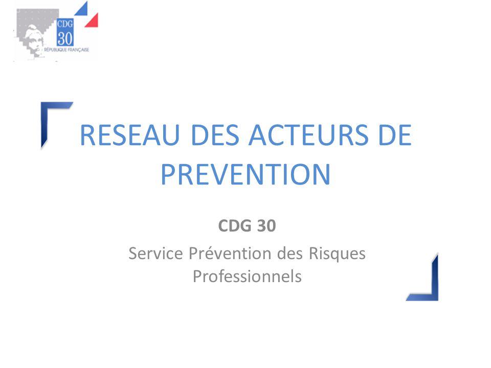 RESEAU DES ACTEURS DE PREVENTION CDG 30 Service Prévention des Risques Professionnels