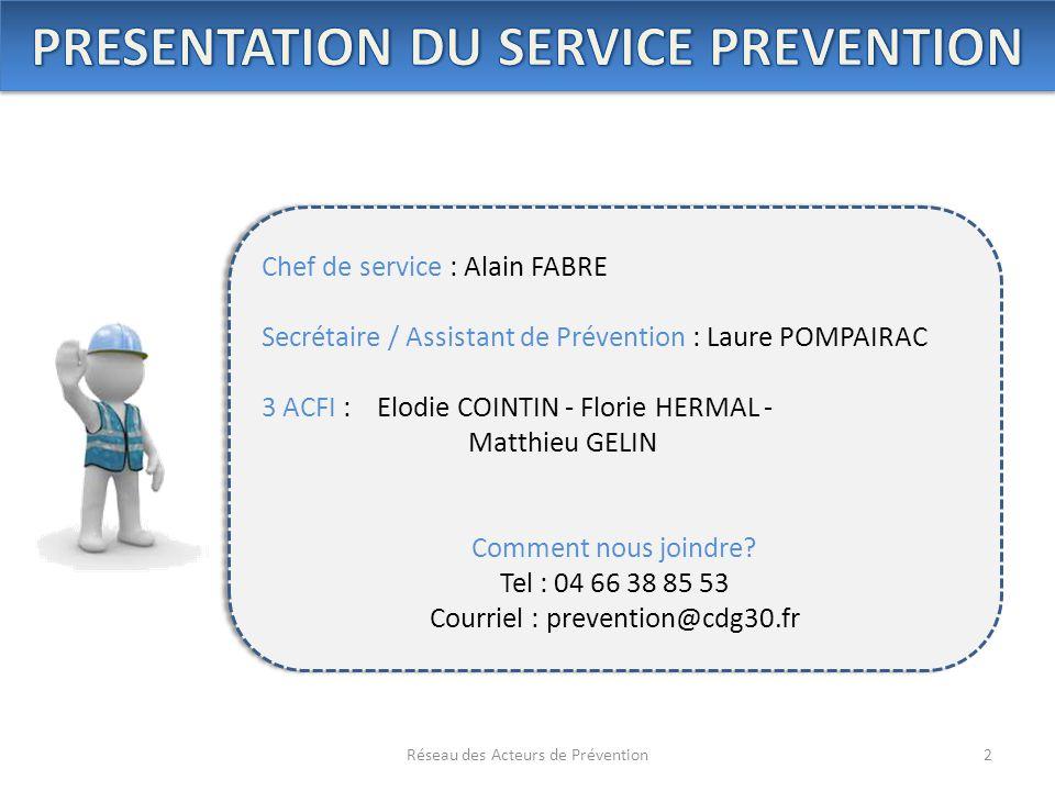 2Réseau des Acteurs de Prévention Chef de service : Alain FABRE Secrétaire / Assistant de Prévention : Laure POMPAIRAC 3 ACFI : Elodie COINTIN - Flori