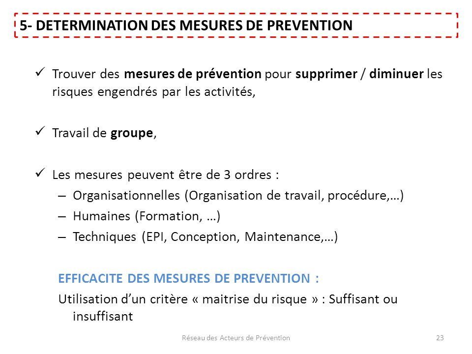 Trouver des mesures de prévention pour supprimer / diminuer les risques engendrés par les activités, Travail de groupe, Les mesures peuvent être de 3