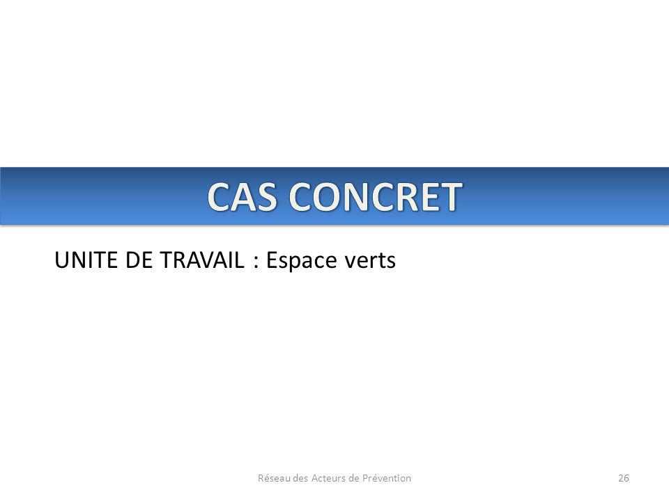 Réseau des Acteurs de Prévention26 UNITE DE TRAVAIL : Espace verts