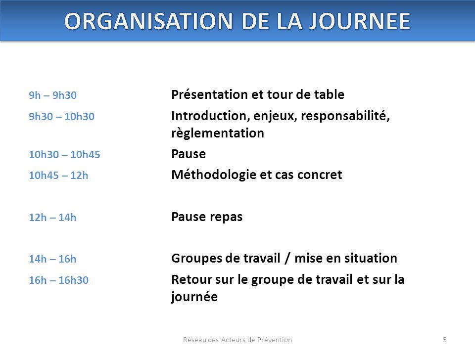 9h – 9h30 Présentation et tour de table 9h30 – 10h30 Introduction, enjeux, responsabilité, règlementation 10h30 – 10h45 Pause 10h45 – 12h Méthodologie