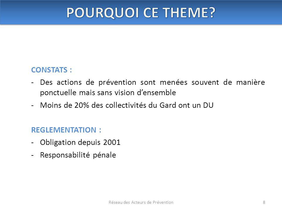 CONSTATS : -Des actions de prévention sont menées souvent de manière ponctuelle mais sans vision d'ensemble -Moins de 20% des collectivités du Gard on