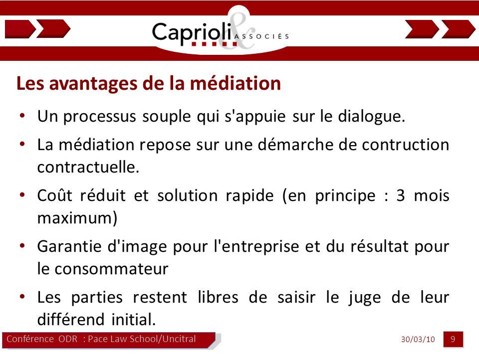 30/03/10 9 9 Les avantages de la médiation Conférence ODR : Pace Law School/Uncitral Un processus souple qui s appuie sur le dialogue.