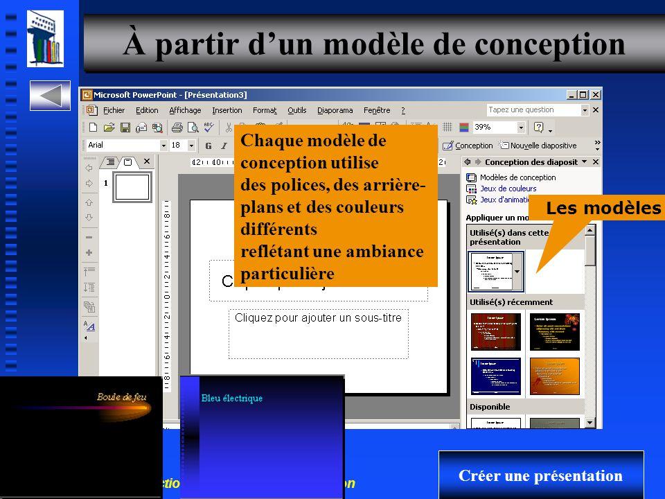 30-700-96 Introduction à l'informatique en gestion 9 Nouvelle présentation Créer une présentation Mise en page La mise en page détermine l emplacement du texte et des objets sur la diapositive