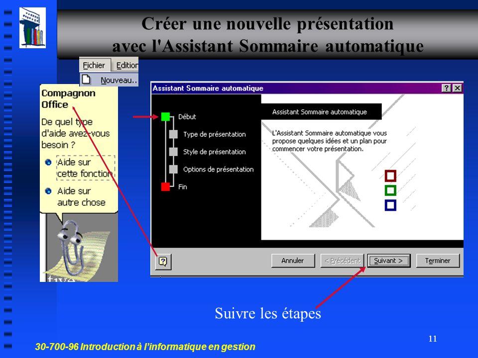 30-700-96 Introduction à l'informatique en gestion 10 À partir d'un modèle de conception Créer une présentation Les modèles Chaque modèle de conceptio