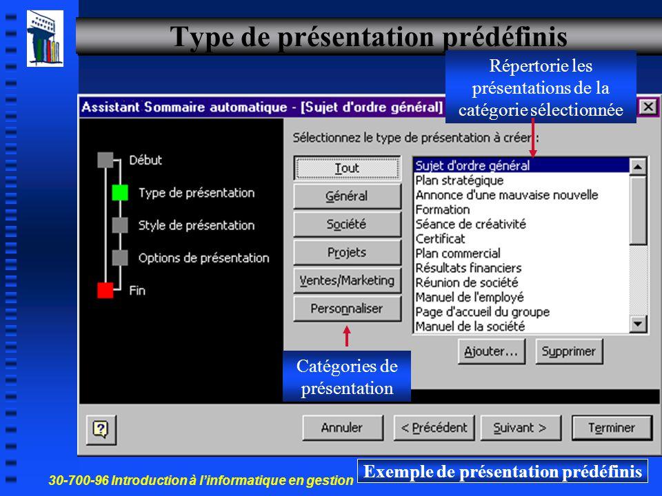 30-700-96 Introduction à l'informatique en gestion 11 Créer une nouvelle présentation avec l Assistant Sommaire automatique Suivre les étapes