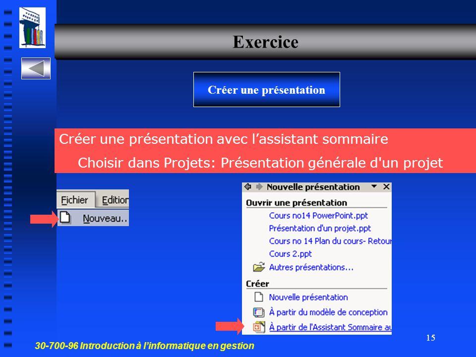 30-700-96 Introduction à l'informatique en gestion 14 Options de présentation Titre à inscrire sur la première diapositive Pour ajouter un pied de pag