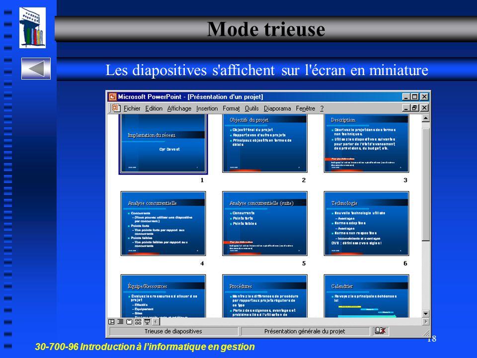 30-700-96 Introduction à l'informatique en gestion 17 Mode affichage Normal – divisé en 3 volets Pour ajouter des commentaires Volet commentaires Visu