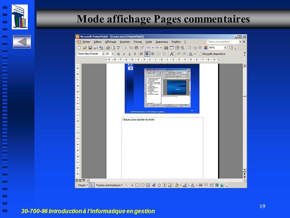 30-700-96 Introduction à l'informatique en gestion 18 Mode trieuse Les diapositives s'affichent sur l'écran en miniature