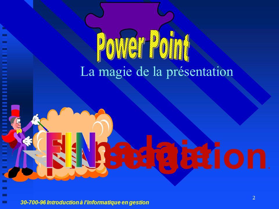 30-700-96 Introduction à l'informatique en gestion 1 PowerPoint Créer une présentation Créer une diapositive de texte Créer une diapositive avec tableau avec un graphique Créer une diapositive avec image Modifier une diapositive Mettre en forme une présentation Visualiser une présentation Réf.